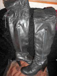 Кожаные, высокие, фирменные стильные зимние сапоги на цигейке, ботфорты
