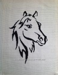 Вышивка крестом монохром лошади
