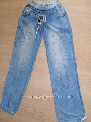 Летние тонкие джинсы свободного кроя. Размер 26