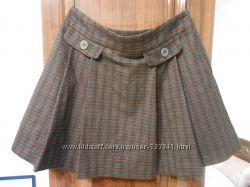 Фирменная юбка мини в клетку теплая 12р
