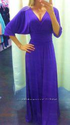 Платье в пол длинное летучая мышь с рукавами три четверти разные цвета