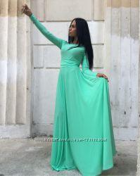 Красивое женское платье макси однотонное с рукавами много цветов см фото