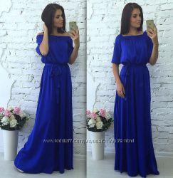 Длинное платье верх на резинке открытые и закрытые плечи разные цвета