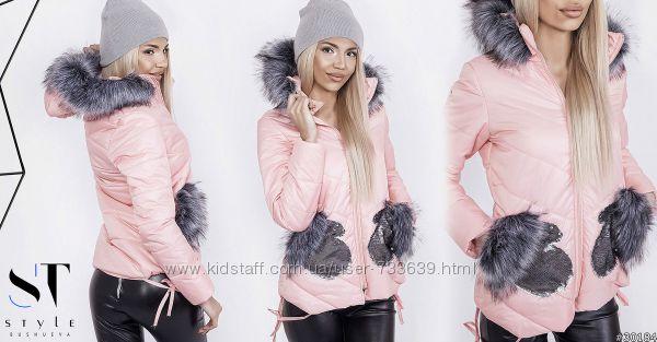 Женская зимняя куртка с каманами варежками из пайетки персикового цвета