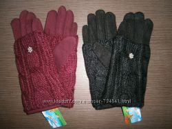 РаспродажаЖенские перчатки вязка митенки Черные