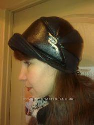 Кожаная шапочка-шляпка