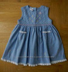 1-2 года Ladybird новое платье хлопок. Длина - 51 см, пояс - 30 см. С вышив