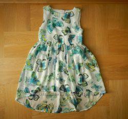 7 лет TU отличнейшее шифоновое фирменное платье. Длина 6074 см, до юбки 27