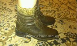 теплые польские кожанные ботиночки размер 40