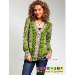 Кардиган женский, вязаный, зеленый, крупная вязка MISS MORENA