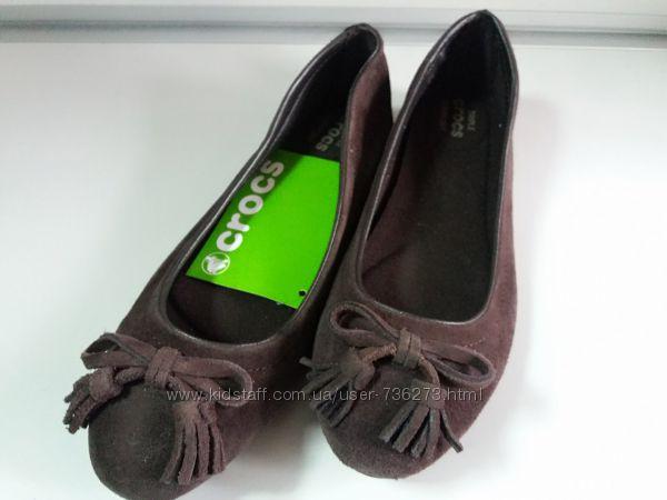 Crocs балетки женские, замшевые, коричневые, оригинал Crocs