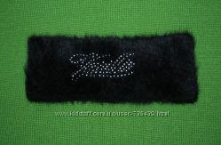 Теплая повязка ангоровая черная
