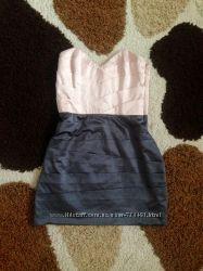 платье Lipsy, Англия, серое с кремовым, 36-38 евро