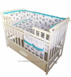 Комплект для детской кроватки Twins Premium Сердечки 7 элементов