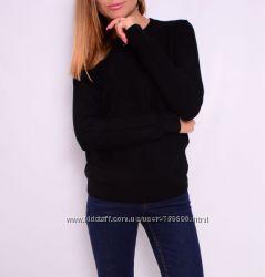 Джемперы с косичками на рукавах, тонкая шерсть. Черные.