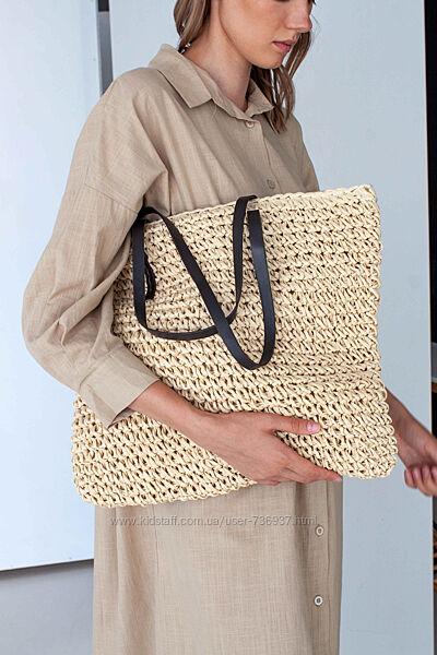 Стильная соломенная сумка, шоппер или пляжная