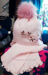 Зимняя шапка и шарф для девочки. 52-54, 54-56 Польша. Распродажа