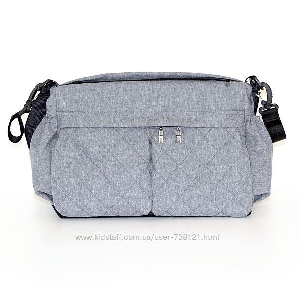 Универсальная сумка на коляску, расцветки, стеганные карманы