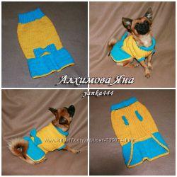 Вязаная одежда для собак. Нарядное платье