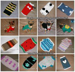 Вязаная одежда для собаки. Нарядный свитер для собак