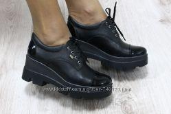 Ботинки женские на тракторной подошве. Натуральная кожа
