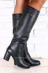 Сапоги женские на устойчивом каблуке. Евро зима