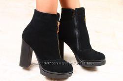 Стильные женские ботинки на толстом каблуке. ОСЕНЬ И ЗИМА