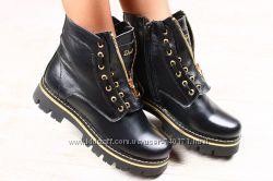Очень стильные женские ботинки на меху. Кожа.