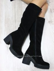 Женские сапоги на толстом устойчивом каблуке. Кожа и замш. Зима