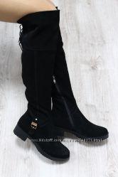 Красивые и стильные женские замшевые ботфорты. Евро зима