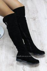 Женские ботфорты на низком каблуке, замшевые. ДЕМИСЕЗОН