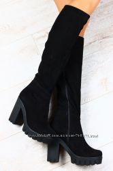 Женские сапоги, замшевые, на толстом устойчивом каблуке. Европейка