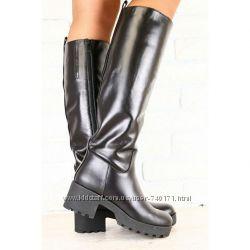 Стильные женские зимние сапоги на устойчивом каблуке. Европейка. В наличии