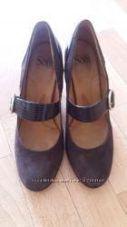 Шоколадные замшевые туфли Sofft, как новые, обувались 1 раз