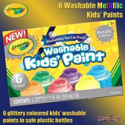 Crayola Легко смываемые краски 6 цветов метиллик