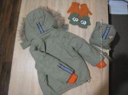 Комплект для мальчика на суровую зиму. Куртка, комбинезон, рюкзак, перчатки