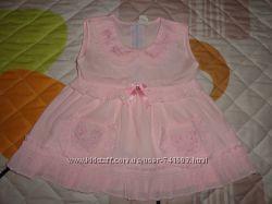Платье розовое 100 коттон размер 3 с трусиками под памперс на 1-2 года