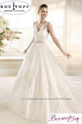 Шифоновое свадебное платье с брителями