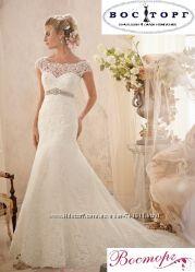 Эксклюзивное кружевное свадебное платье для королевы красоты