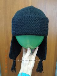 Женская шапка ушанка вязаная