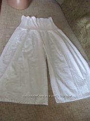 Летние натуральные белые юбка-брюки. Трикотажная резинка. Макси.