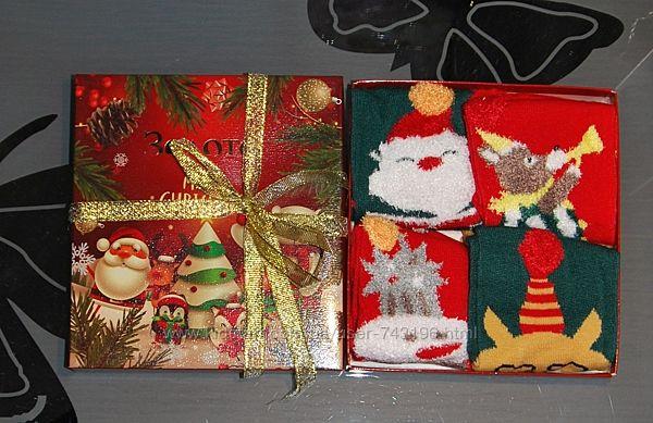 Набор 4 пары 1-4, 4-8 новогодние носки снеговик котик волк дед мороз