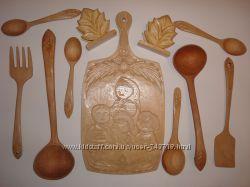 Резная деревянная посуда