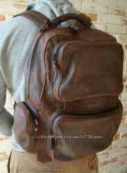 Качественный винтажный кожаный рюкзак. индивидуальный пошив