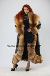 Кожаное пальто Пиковая дамас мехом лисы огневки