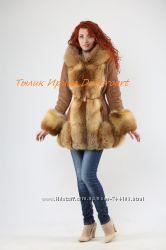 Куртка Вечерний купуччиноиз нежнейшей замши и мехом лисы