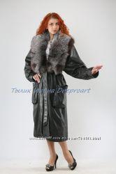 Кожаное пальтоПантера с чернобуркой