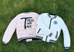 Куртка бомбер пуховик розовая и белая