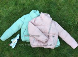 Пуховик бомбер куртка розовая бирюзовая