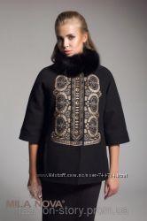 Кашемировое пальто  с натуральным мехом чёрного песца